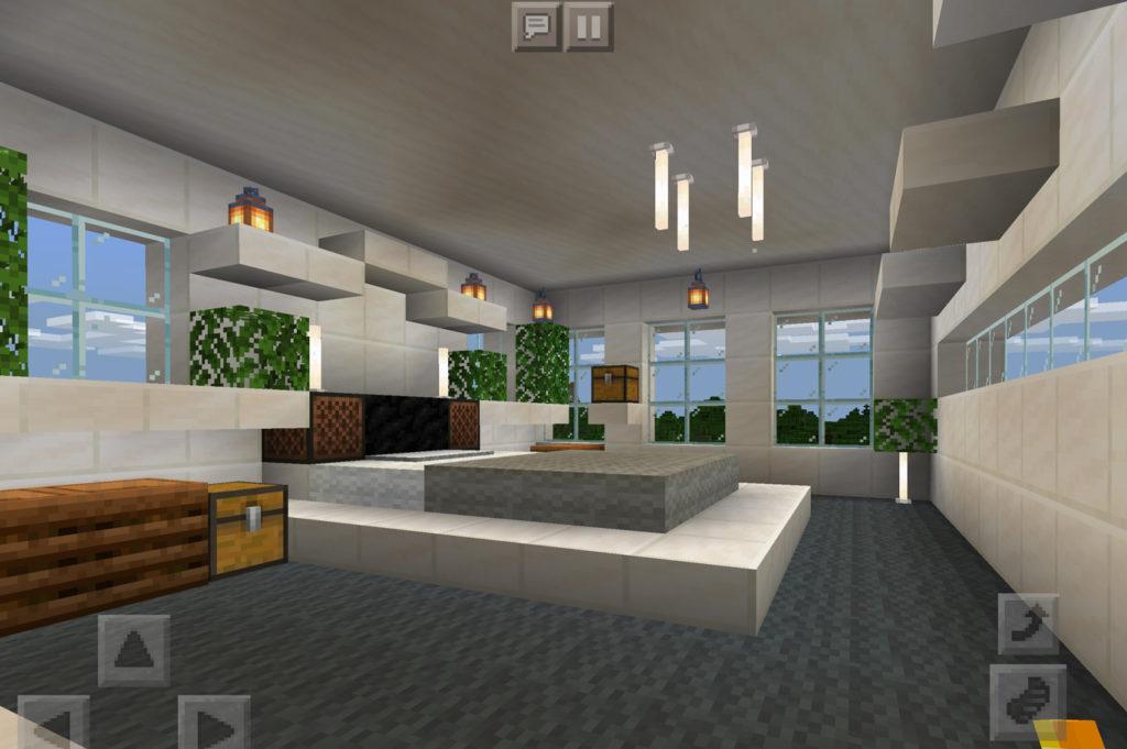 【マインクラフト建築】おしゃれでモダンな家の主寝室 全体の様子【マイクラ 】
