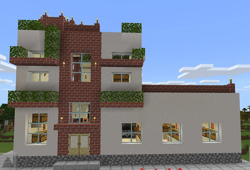 【マインクラフト建築】螺旋階段があるおしゃれでモダンな家 柱状のクォーツのブロック×レンガブロック【マイクラ 】