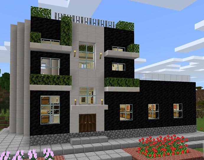【マインクラフト建築】螺旋階段があるおしゃれでモダンな家 石炭のブロック×クォーツのブロック【マイクラ 】