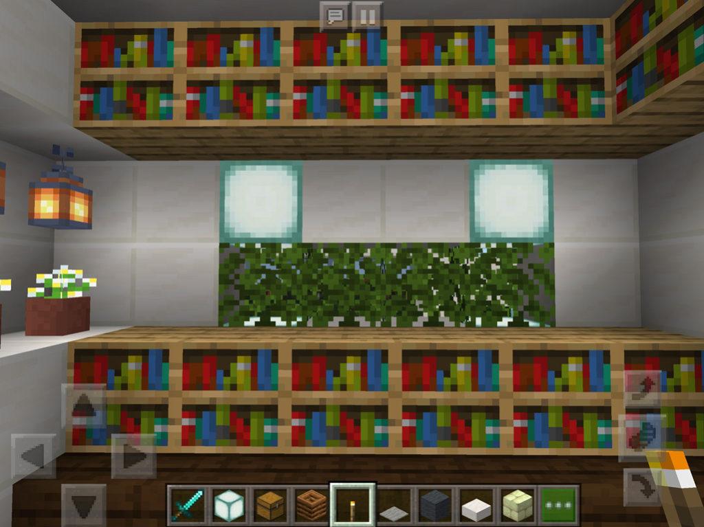 【マインクラフト建築】オークの葉ブロックの壁で作った書斎【マイクラ 】