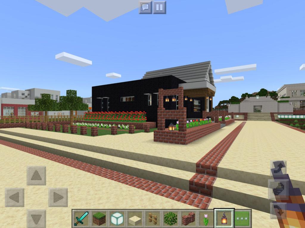 【マインクラフト建築】おしゃれで落ち着いたカフェ 外観完成図【マイクラ 】