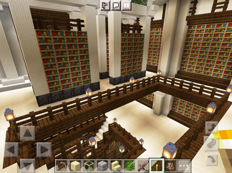 【マインクラフト建築】図書館3階から見た階段【マイクラ】