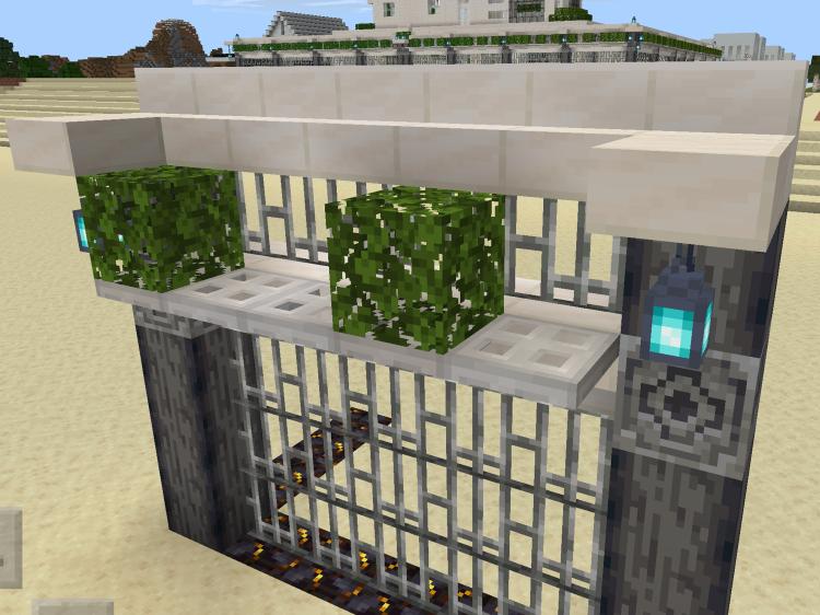 【マインクラフト建築】逆方向に置いたクォーツの階段ブロックの手前に上付きで鉄のトラップドアを付けて、樫の葉をランダムに置きます【マイクラ】