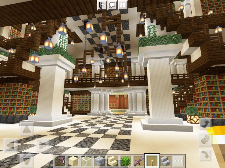 【マインクラフト建築】図書館1階入り口方面【マイクラ】