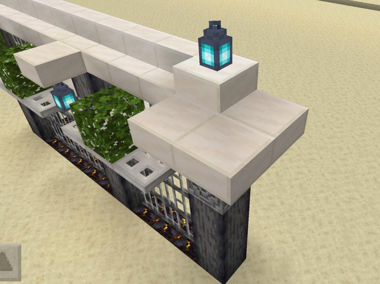 【マインクラフト建築】クォーツのハーフブロックをぐるりと設置【マイクラ】